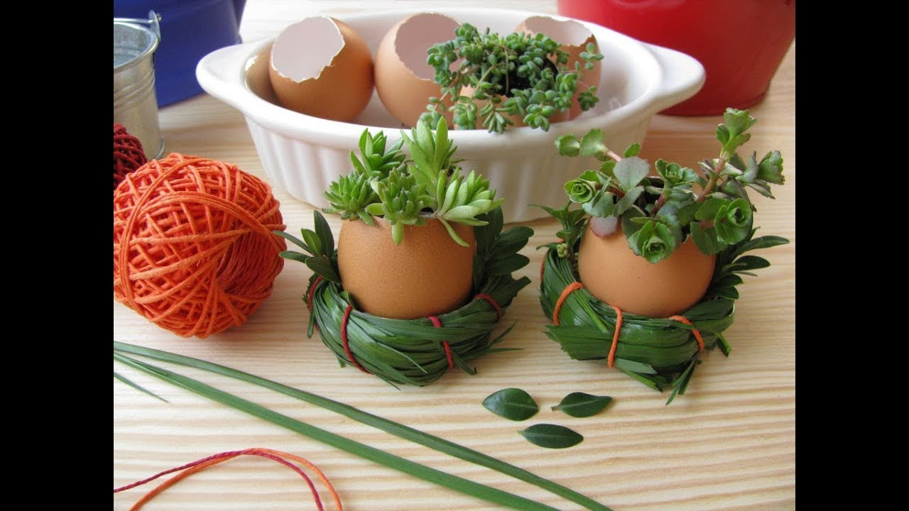 How to make eggshell plant pots for easter decorations a for Art and craft pot decoration