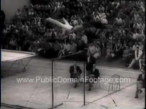 1958 A. A. U.  Gymnasts San Fernando Newsreel PublicDomainFootage.com