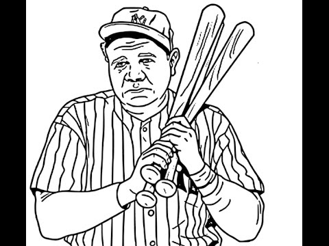 How to draw babe ruth face sketch drawing step by step for Babe ruth coloring pages