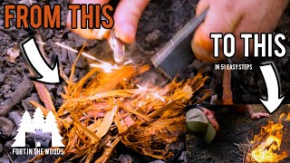 How To Start A Fire With Fire Steel | Fort In The Woods | FITW