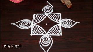 Creative & beautiful kolam with 5 dots || easy rangoli by Suneetha || new muggulu designs