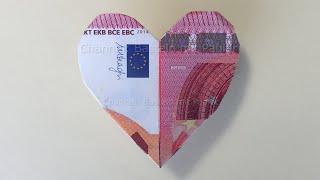 Geldscheine falten Herz ❤ Geld falten zum Herz: Einfaches DIY Origami Herz zum Geldgeschenke basteln
