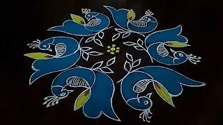 simple and easy peacocks rangoli {7×4} Dot's...