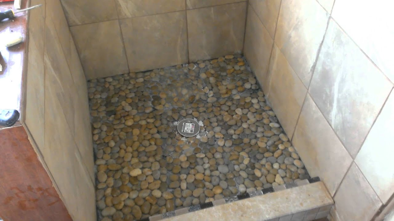 Perfect KBRS Shower Base Pan With Pebble Tile   YouTube