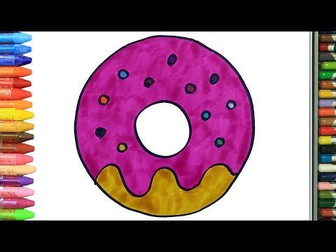 cómo-dibujar-y-colorear-rosquilla- -dibujos-para-niños- -aprender-colores