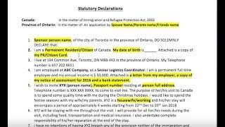 statutory declaration canada sample