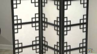 Black Omei Lattice 3-panel Screen Room Divider - Product Review Video