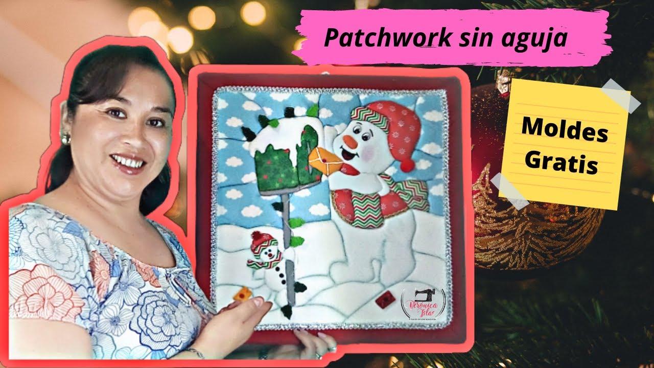 Tutorial como hacer un cuadro navideño en la tecnica de patchwork sin aguja