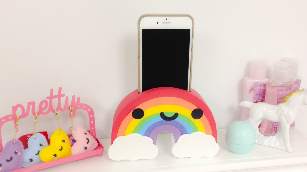 Diy Rainbow Phone Holder Easy Room Decor Ideas