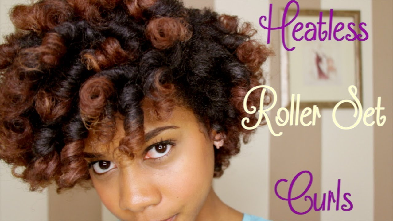 How To Heatless Roller Set Curls On Natural Hair Youtube