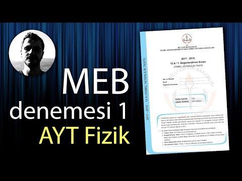 MEB AYT Denemesi Fizik Çözümleri ve PDF (1. Değerlendirme Sınavı)