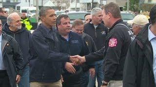 Obama surveys Hurricane Sandy's destruction in New Jersey