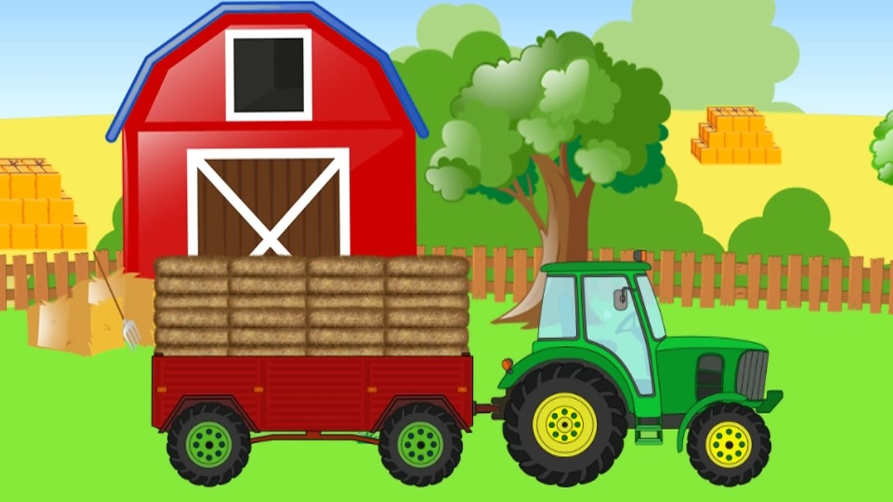 Farm Animals and the Tractor - Animal names and sounds for children - Educational Video