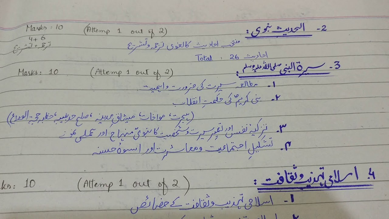Exact Paper pattern of islamiyat by pu for BA Bsc bcom
