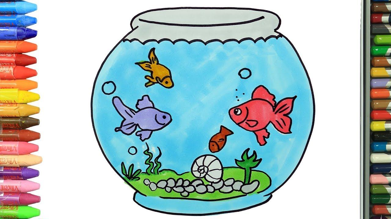 Akvaryum Ve Balıklar Nasıl çizilir çocuklar Için Eğlenceli Boyama