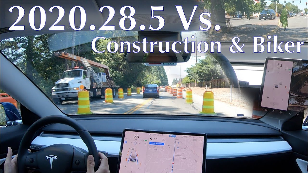 Tesla update 2020.28.5 vs. construction detour and biker | IT'S FINALLY HERE!!!