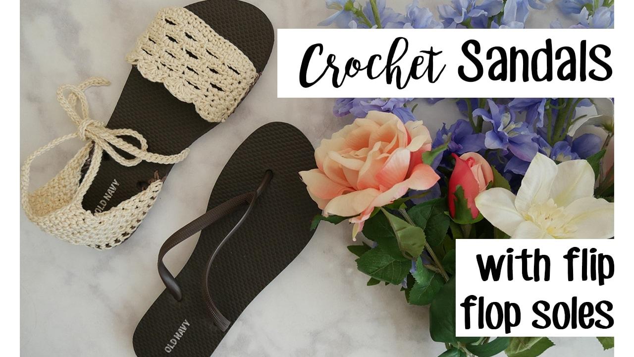 c114766cf16b47 Crochet Sandals using Flip Flop Soles