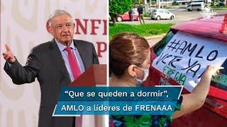 El Presidente Andrés Manuel López Obrador reiteró su llamado a los dirigentes de ese movimiento a que se mantengan y pernocten en el plantón, así como los que los financian como, dijo, Gustavo de Hoyos, presidente de la Coparmex