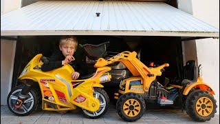 Funny Video For Children Baby Ride on New Bike Power Wheel Magic Hide and Seek in Garage Daddy