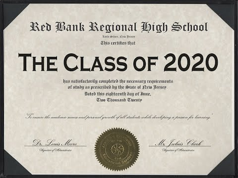 """The June 17 """"virtual"""" graduation ceremony for Red Bank Regional High School's senior class of 2020"""