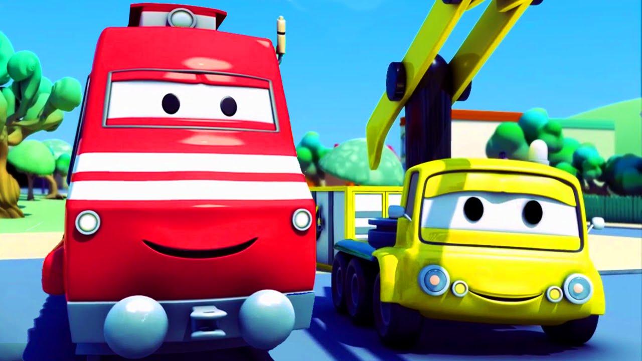 troy o trem e o guindaste na cidade do carro desenhos animados de