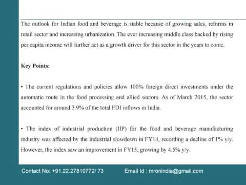 India Food Beverage Industry Report To 2016