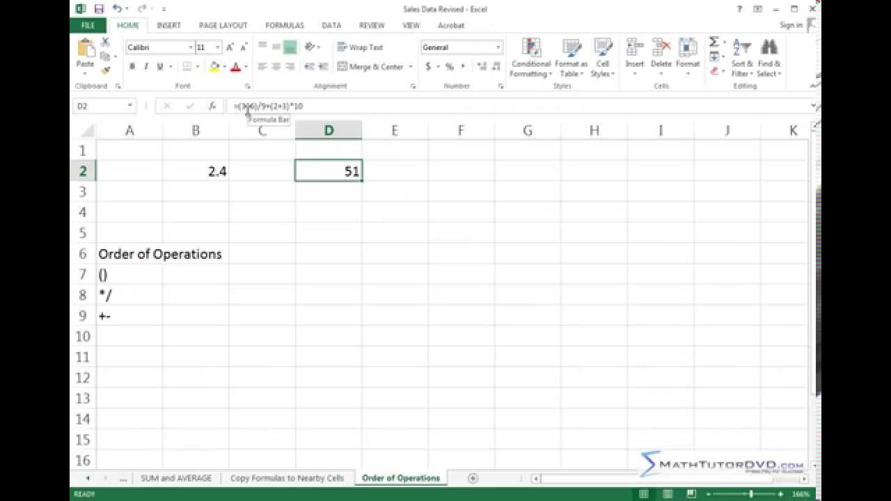 Learning Microsoft Excel   Order of Operations   YouTube
