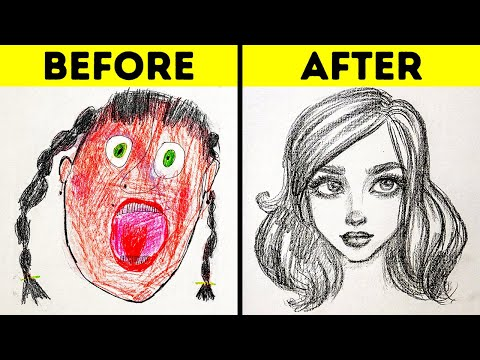 25 EASY DRAWING TRICKS FOR BEGINNERS || SIMPLE DRAWING AND PAINTING TUTORIALS AND TIPS thumbnail
