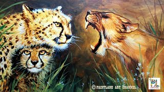 Wild Animals female Lion and Cheetah Painting With Acrylic On Canvas