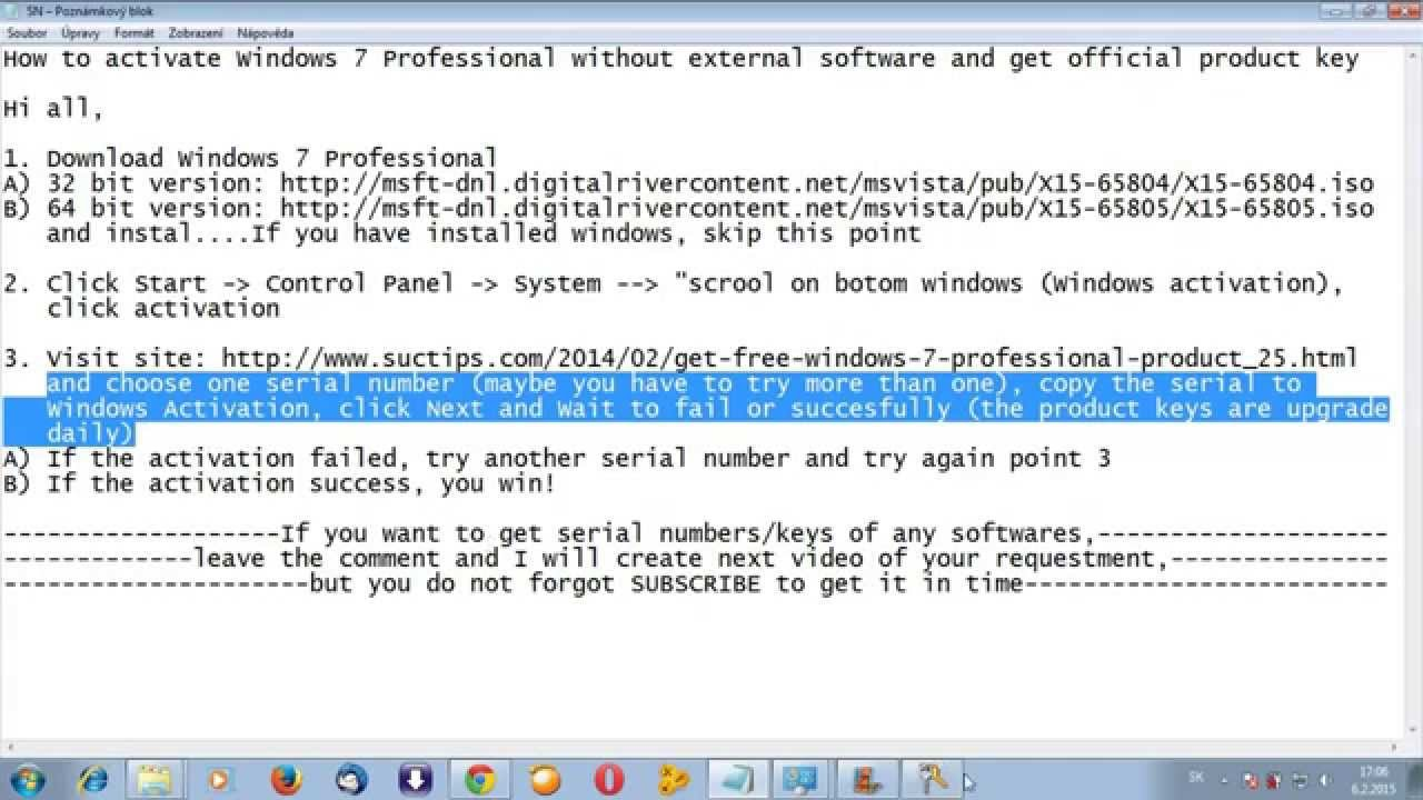 Windows 7 professional product key official youtube for Windows 07 product key