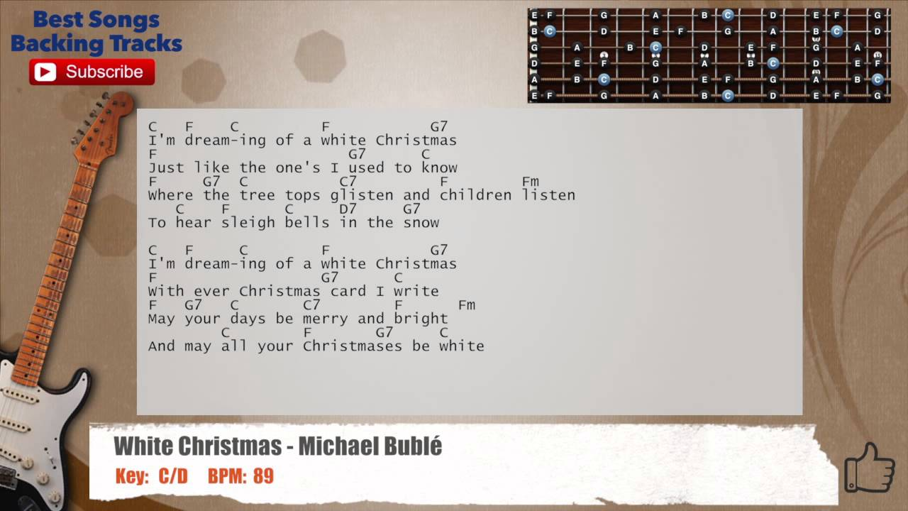 White Christmas Michael Buble Guitar Backing Track With Scale