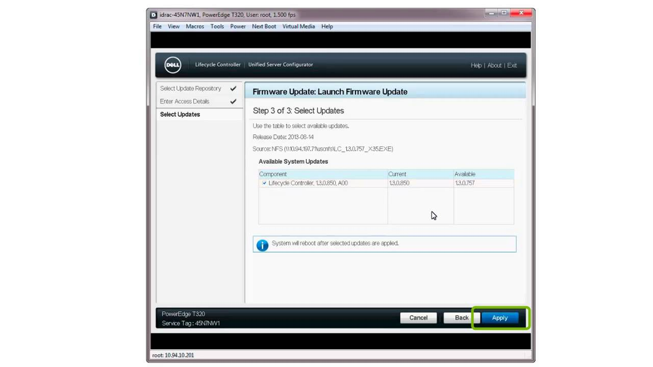 Dell Lifecycle Controller - Firmware Update Using Network Share: NFS  (Network File System)