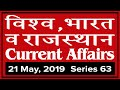 21 May 2019 Current Affairs | Daily Current Affairs | India World and Rajasthan Current GK