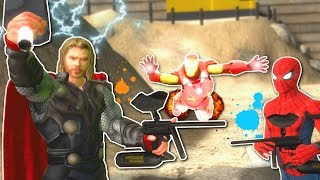 MARVEL SUPERHEROES PAINTBALL BATTLE! - Garry's Mod Gameplay - Gmod Marvel Paintball