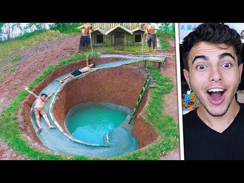 Doğada Gizli Yeraltı Evinin Etrafına Su Kaydırağı Yapmak