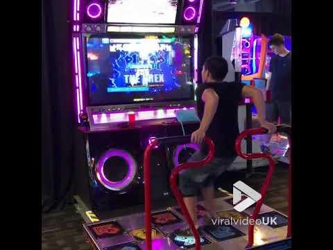 Guy Nails Foot Dancing Arcade Game  || Viral Video UK