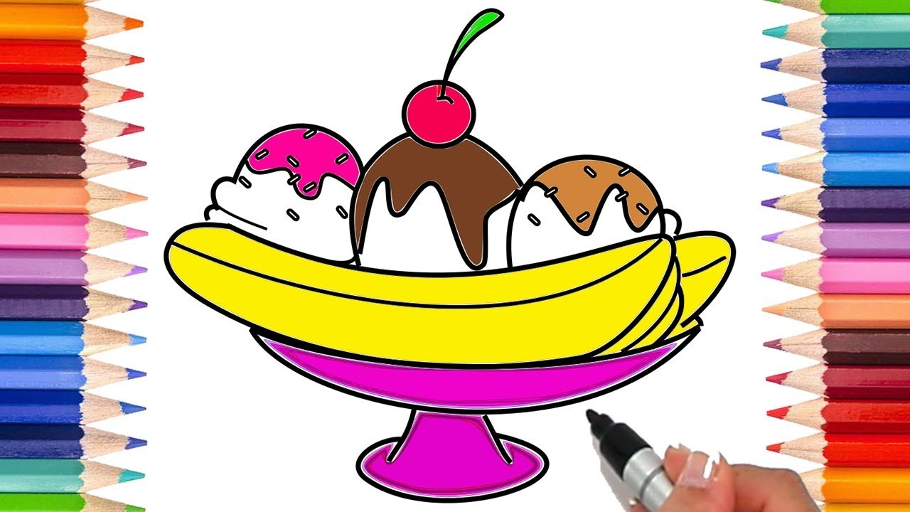 - How To Draw A Banana Split Coloring Pages For Kids! Learn To Draw! -  YouTube