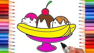 How to Draw a Banana Split | Coloring Pages for Kids! | Learn to Draw!