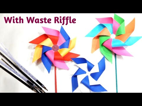 Windmill kids project paper craft / Best reuse of waste Pen's riffle / DIY
