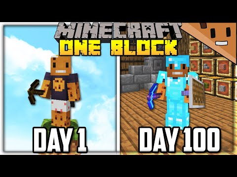 I Spent 100 Days in ONE BLOCK Minecraft… Here's What Happened