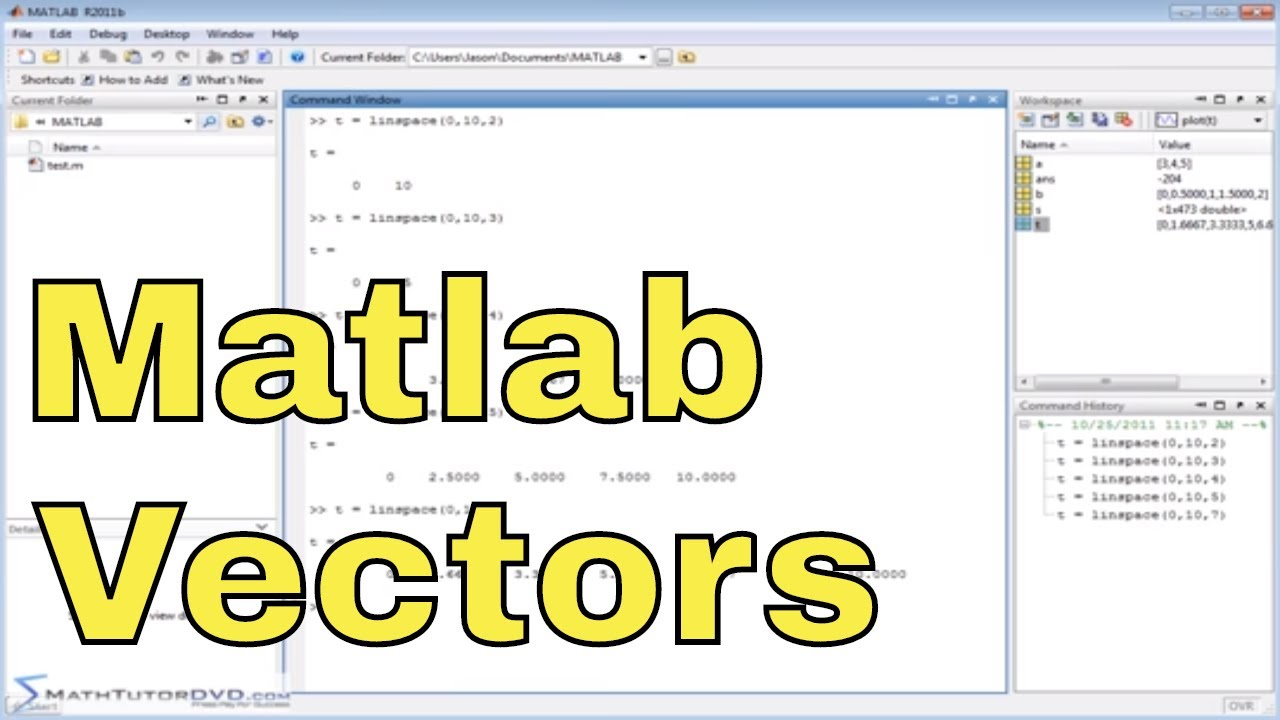 Matlab Tutorial - 28 - Creating Vectors with Evenly Spaced Elements