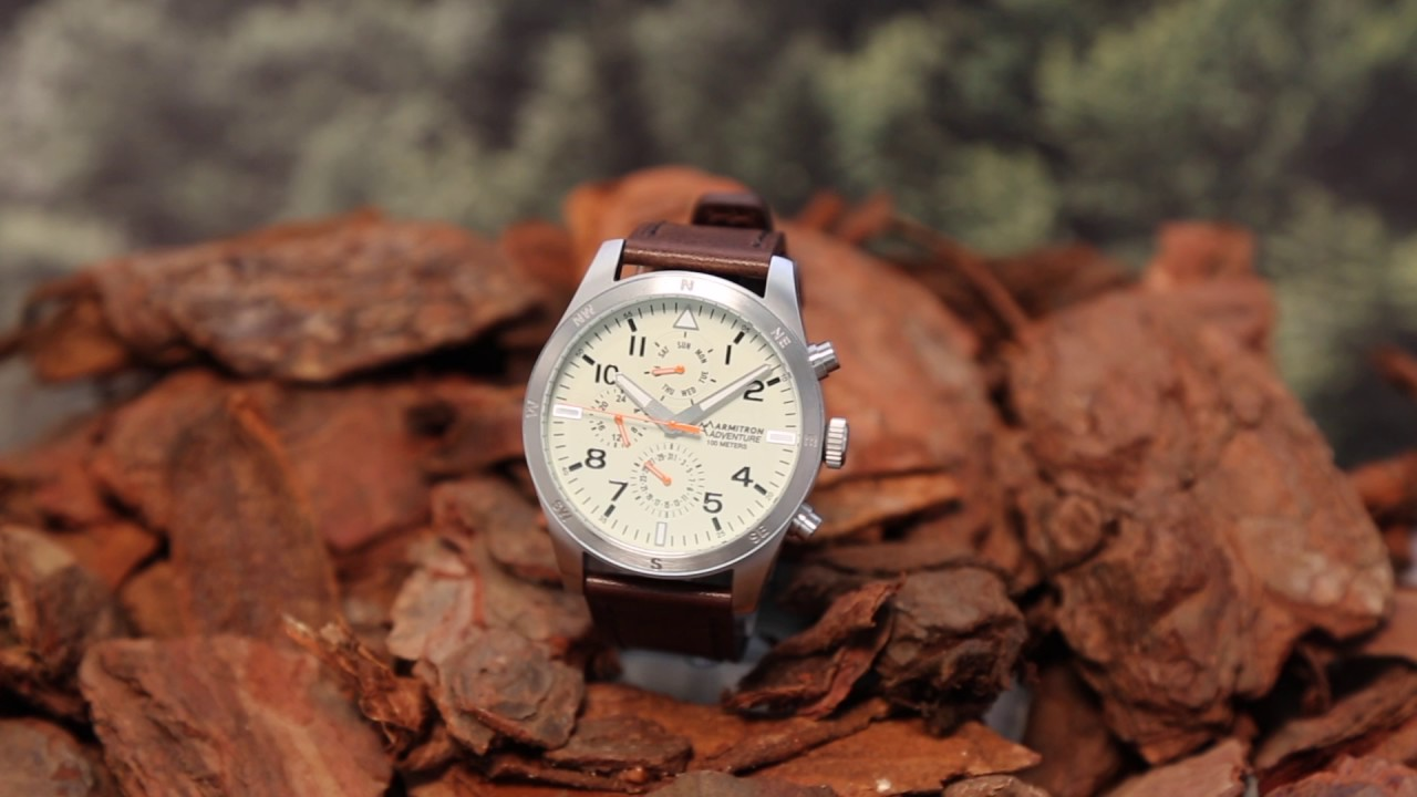 97d6700d665 Armitron Adventure- Analog Watch with Dark Brown Leather Strap - YouTube