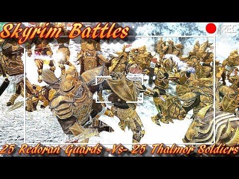 Skyrim Battles - 25 Redoran Guards vs 25 Thalmor Soldiers [Legendary Settings]