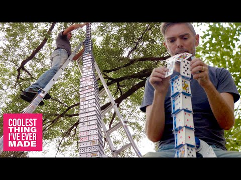 World's Best Card Stacker Builds Tallest Outdoor Card Tower - COOLEST THING I'VE EVER MADE-EP13