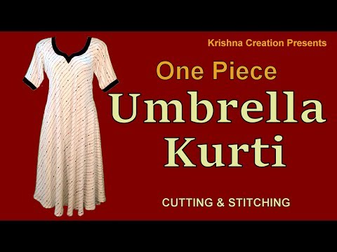 One piece Umbrella Kurti | अम्ब्रेला कुर्ती | Cutting and Stitching || Krishna Creation