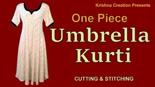 One piece Umbrella Kurti | अम्ब्रेला कुर्ती | Cutting and Stitching | Krishna Creation