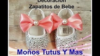 DECORACION ZAPATOS DE BEBE Paso a Paso RHINESTONE BABY SHOES Tutorial PAP Video 149