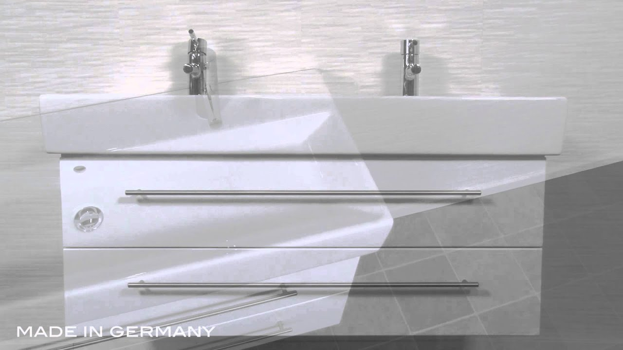 badm belset villeroy und boch memento 120 cm doppel weiss hochglanz youtube. Black Bedroom Furniture Sets. Home Design Ideas