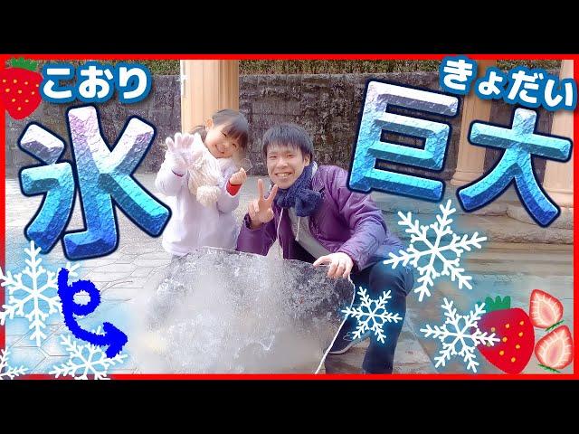 巨大な氷と雪にこはるちゃん大興奮!! 公園の氷を割って遊ぶよ♡ おでかけ おままごと 4歳