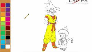 How To Draw Goku and Kid Son Gohan Full Body Step by Step Easy - Part 2